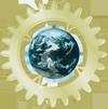 A globe of Earth on a brass gear